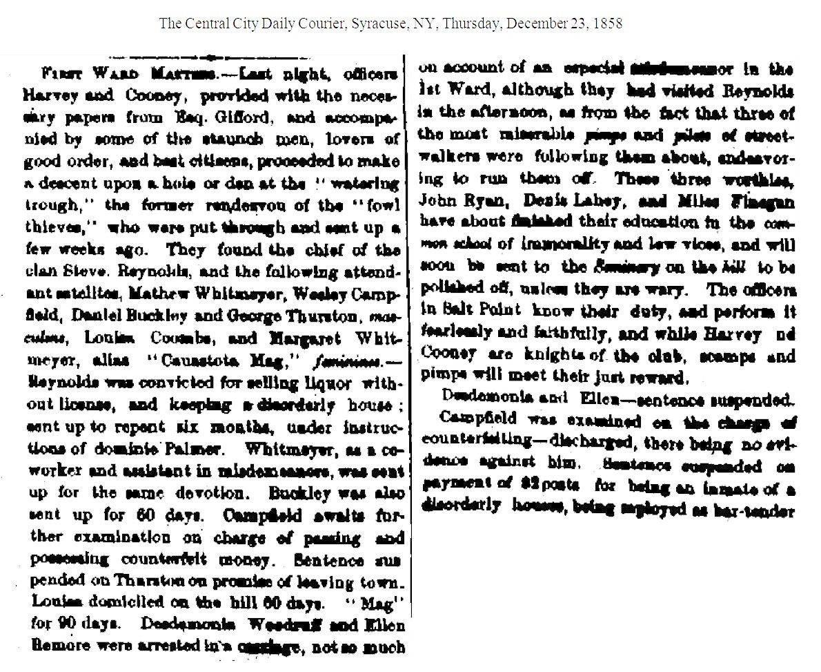 Thewateringtroughroadhouse ward matters the central city daily courier syracuse ny thursday december 23 1858 aiddatafo Gallery